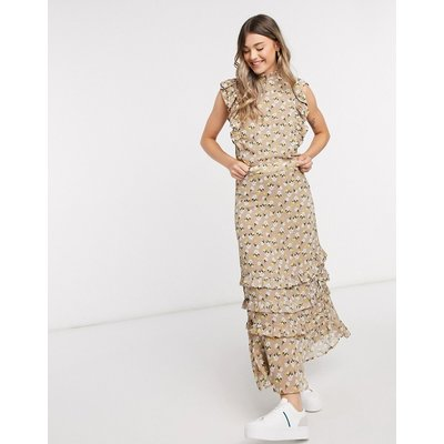 Y.A.S chiffon maxi skirt co-ord in beige floral-Multi