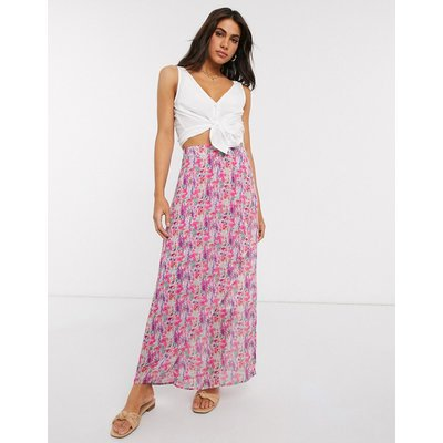Y.A.S chiffon maxi skirt in pink floral-Multi