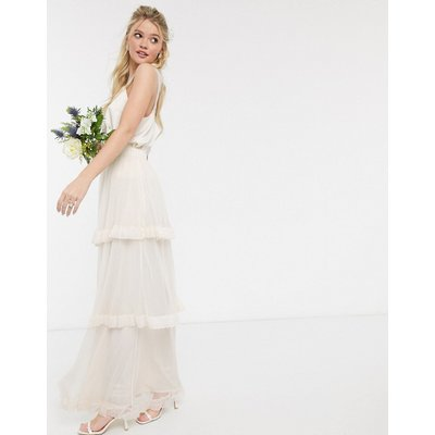 Y.A.S maxi skirt with tiered detail in cream