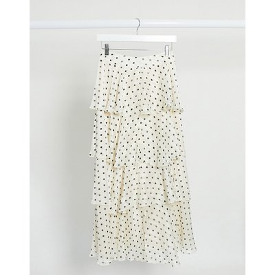 Y.A.S maxi skirt with tiered ruffles in cream spot-Multi