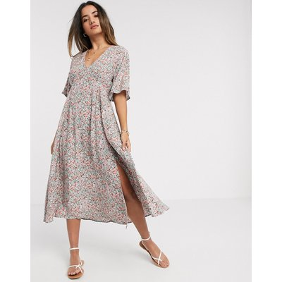 Y.A.S midi tea dress with side split in mixed floral-Multi
