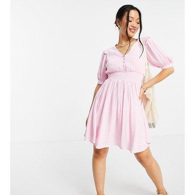 Y.A.S Petite shirred waist tea dress in light pink