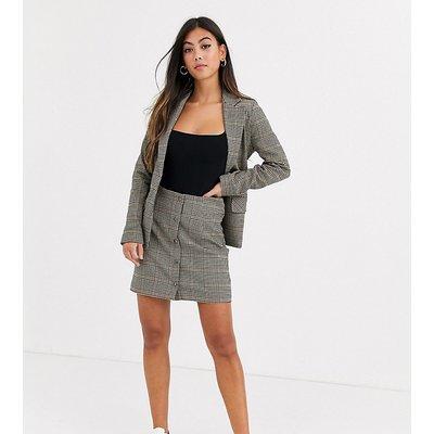 Y.A.S Petite Silla button through check a line skirt co-ord-Brown