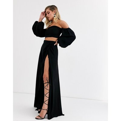 Yaura high waist maxi skirt with split co ord in black