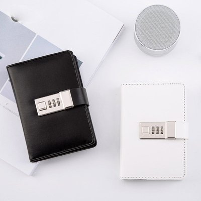 A7 Black Leather Mini Journal with Combination Lock Lined Diary 3.8 x 5.4 inch