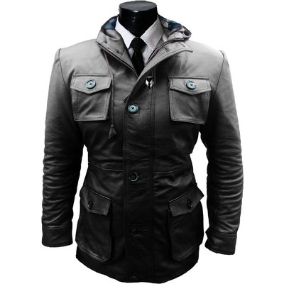 Mens black hooded long jacket, Men multi pockets leather jacket, Mens jacket