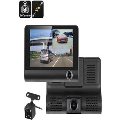 Car DVR Kit - 3 Cameras, G-Sensor, Loop Recording, Rear View Parking Cam, 4-Inch Display, 32GB SD Card Slot