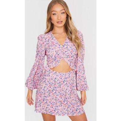 Pink Dresses - Jac Jossa Pink Floral Print Ruched Front Mini Dress