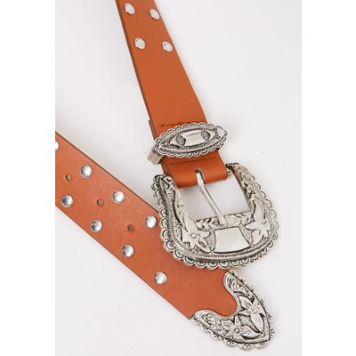 Tan Belts - Tan Studded Western Belt