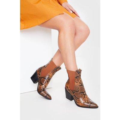 Tan Boots - Tan Snake Print Ankle Cowboy Boots