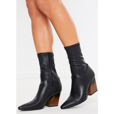 Black Boots - Black Stretch Pu Ankle Boots