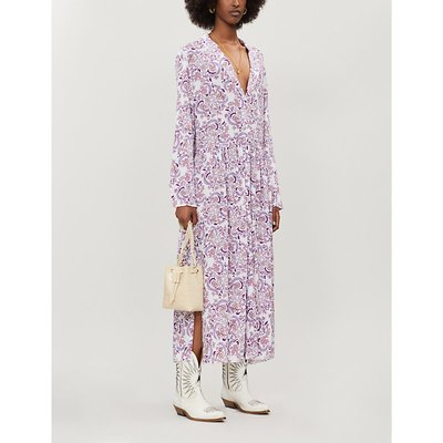 See By Chloe White and Pink Floral Print Loose Fit Crepe Midi Dress