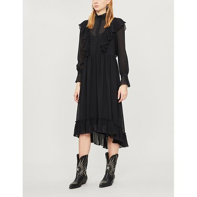 See By Chloe Black High Neck Ruffled Crepe Dress