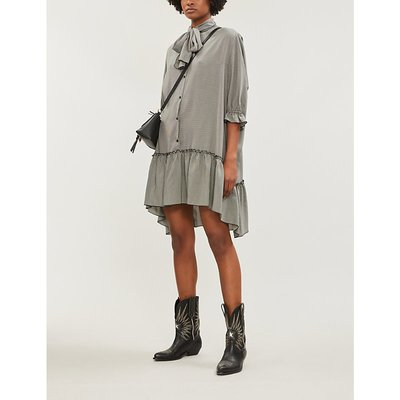 See By Chloe Black and White Checked Woven Dress