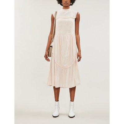 See By Chloe Smoky Pink Sleeveless High Neck Crepe Midi Dress