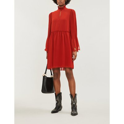 See By Chloe Earthy Red High Neck Crepe Dress