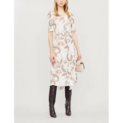 V-neck printed crepe midi dress
