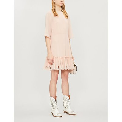 See By Chloe Smoky Pink Scalloped Crepe Dress