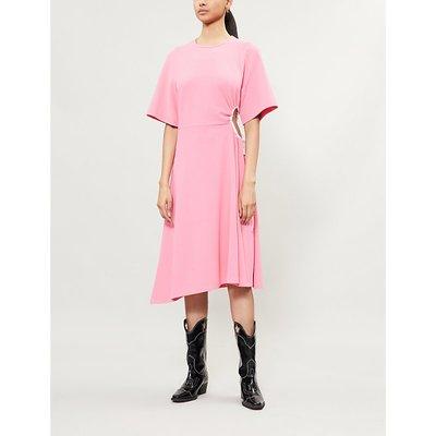 Cutout-waist flared crepe dress