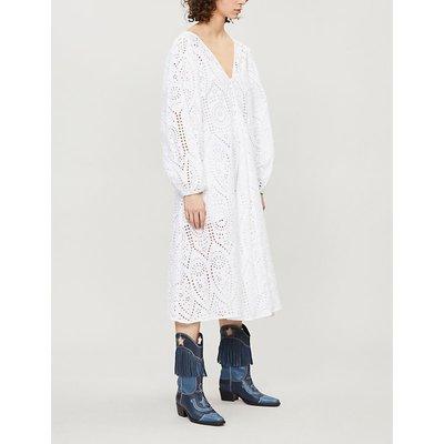 Ganni Ladies Bright White Falcon Cotton Broderie Anglaise Midi Dress