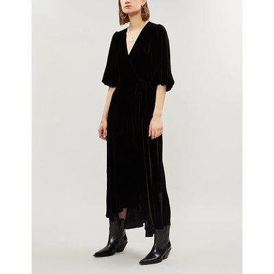 Ganni Ladies Black Aldine Velvet Midi Wrap Dress