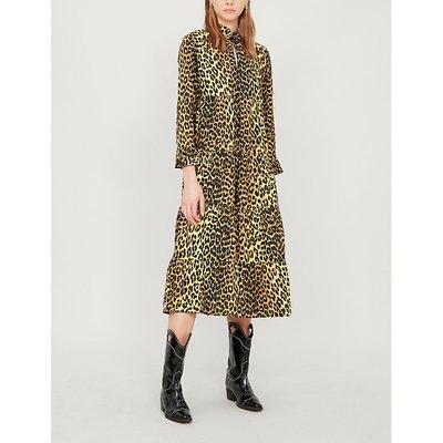 Leopard-print cotton-poplin midi dress