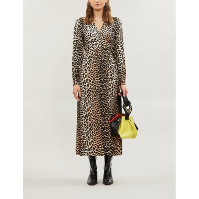 V-neck bishop-sleeve animal-print stretch-silk midi dress