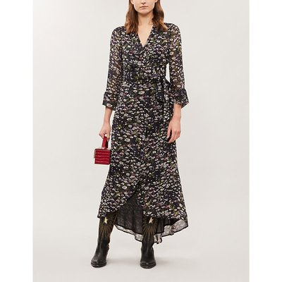 Floral-pattern flared-skirt crepe midi dress