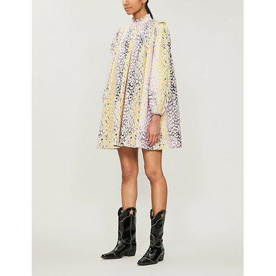 Leopard-print cotton midi dress