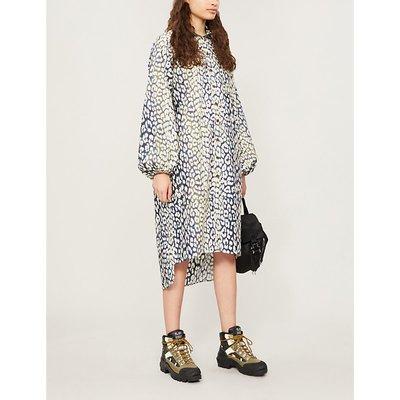 Leopard-print cotton-poplin midi shirt dress