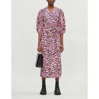 Ganni Ladies Pink Floral-Print Puffed-Sleeve Cotton Midi Dress