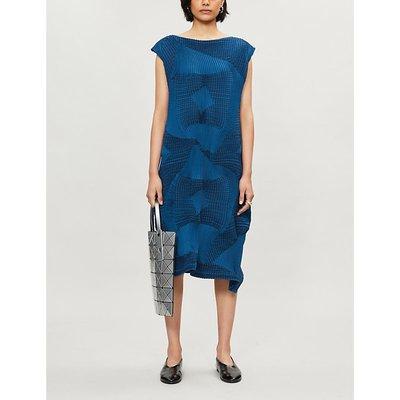 Issey Miyake Striped pleated woven midi dress