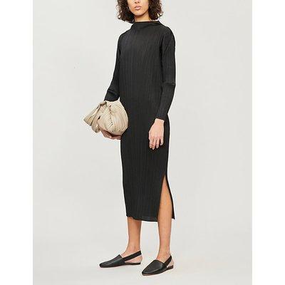 High-neck pleated midi dress