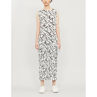 Graphic-print crepe jumpsuit