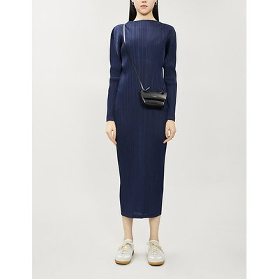 Pleats Please Issey Miyake Prussion Blue Pleated Long-Sleeved Woven Midi Dress