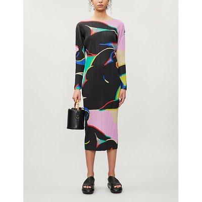 Pleats Please Issey Miyake Black Geometric Print Woven Midi Dress
