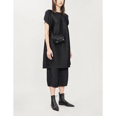 Pleats Please Issey Miyake Ladies Black Tucked Bounce Woven Midi Dress