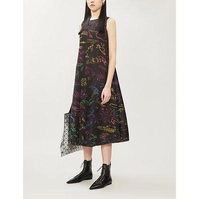 Pleats Please Issey Miyake Black In Her Dream Pleated Woven Midi Dress