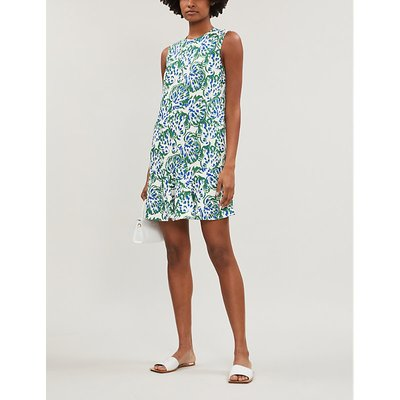 Floral-print flared crepe dress