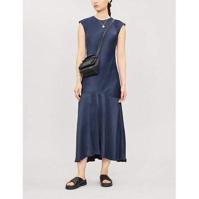 Cascade cap-sleeved satin midi dress