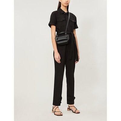 Waist-tie cotton-twill jumpsuit