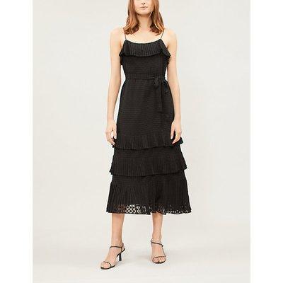 Zimmermann Black Polka Dot Print Plissé Chiffon Midi Dress