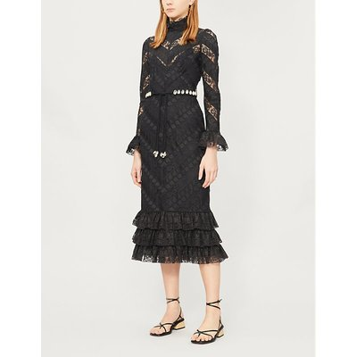 Shell-embellished ruffled lace midi dress