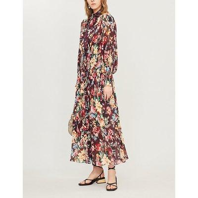 Allia floral-print cotton and silk-blend midi dress