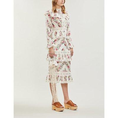 Honour floral-patterned cotton midi dress