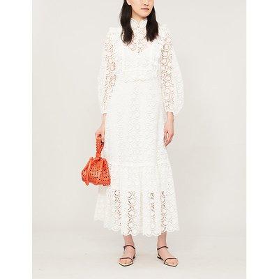 Goldie scalloped-trim lace midi dress