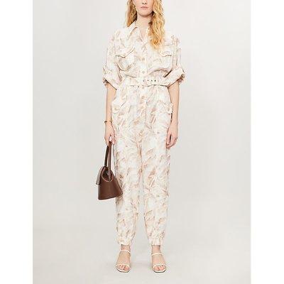 Floral-print linen jumpsuit