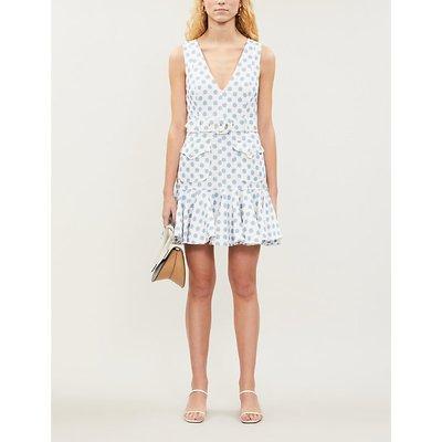 Super Eight polka-print linen dress