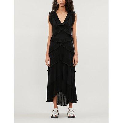 Zimmermann Black Super Eight Sleeveless Tiered-Ruffles Chiffon Midi Dress
