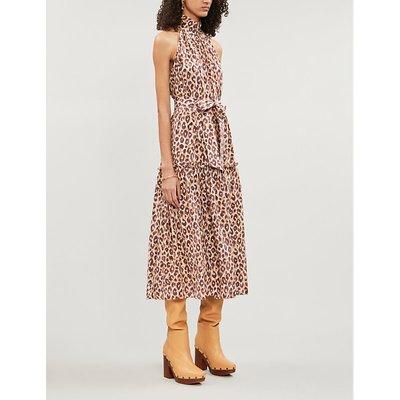 Zimmermann Caramel Brown Super Eight Sleeveless Silk-Crepe Midi Dress